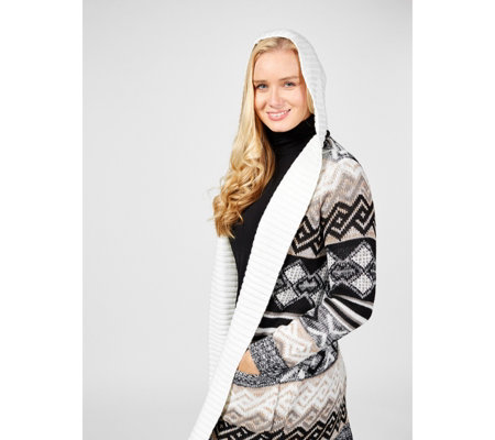 Absolutely Famous Hooded Jacquard Open Front Cardigan