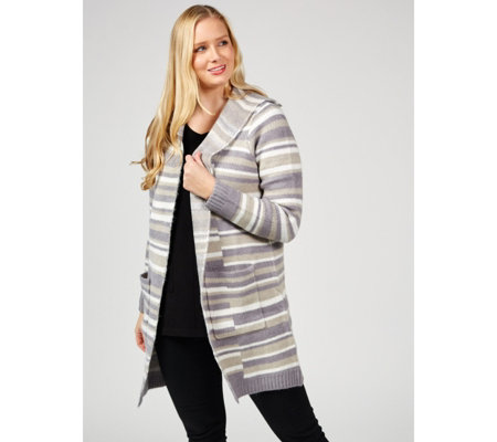Denim & Co. Stripe Jacquard Open Front Long Sleeve Cardigan