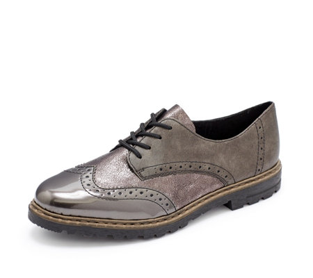 Rieker Metallic Lace Up Brogue