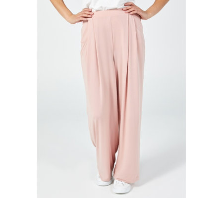 Elastic Waist Stretch Crepe Pleat Front Trousers by Nina Leonard