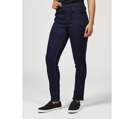 Denim & Co. Soft Stretch Pull On Jeans Straight Leg Petite