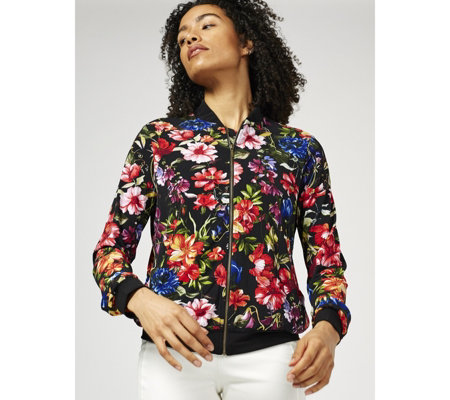 Kim & Co Printed Brazil Jersey Bomber Jacket with Pockets