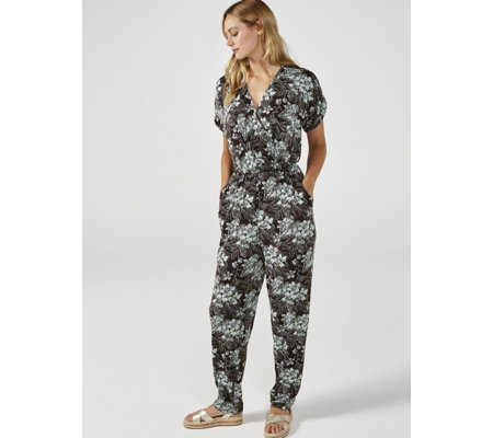 Kim & Co Brazil Jersey Printed Crossover Tulip Sleeve Regular Jumpsuit