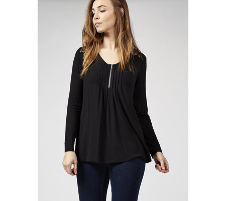 Outlet Together Lace Shoulders Zip Front Top