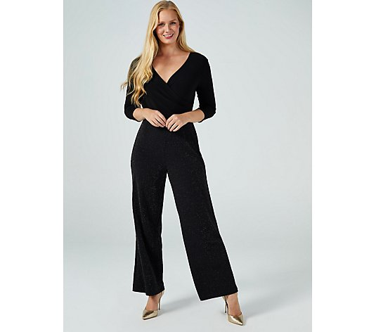 3/4 Sleeve Wide Leg Glitter Jumpsuit by Nina Leonard