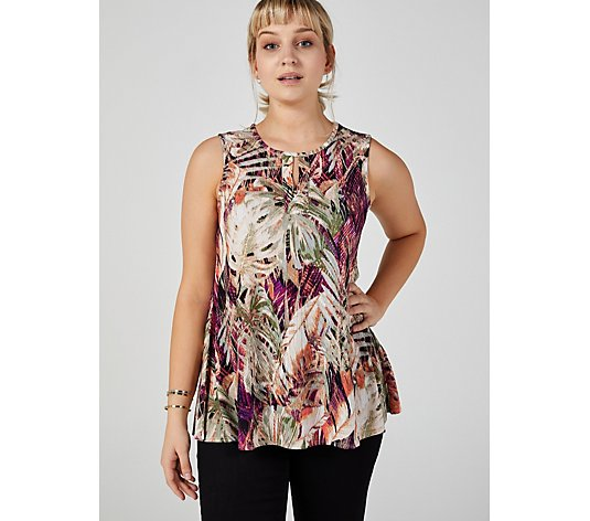 Attitudes by Renee Sleeveless Keyhole Textured Top