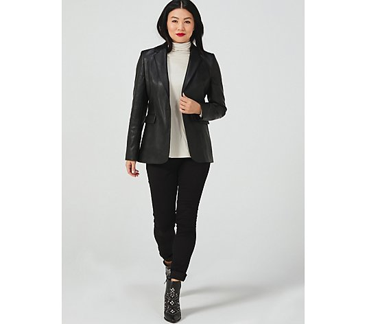 Helene Berman Pleather One Button Blazer