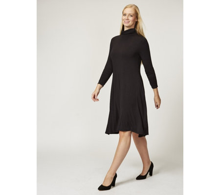 Jersey High Neck Swing Dress with Ruched Sleeves by Nina Leonard