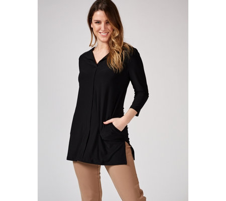 Attitudes by Renee Jersey Longline Tunic with Pockets