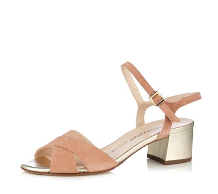 Peter Kaiser Celana Suede Cross Front Sandal with Metallic Heel