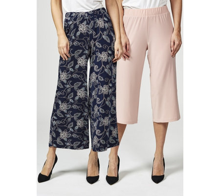 Pack of 2 1 Printed Palazzo & 1 Culotte Regular Trousers by Nina Leonard