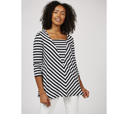 Antthony Designs Striped Top with Front Seam Detail