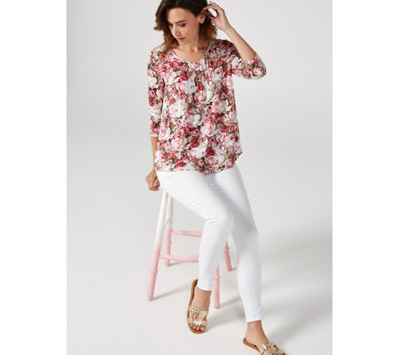 Together Rose Bouquet Print Top