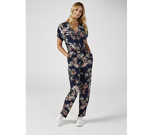 Kim & Co Brazil Jersey Printed Crossover Tulip Sleeve Petite Jumpsuit