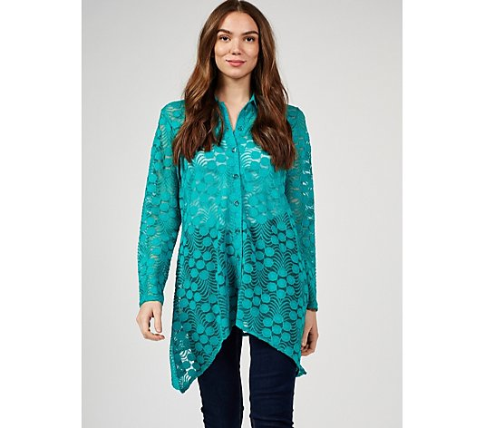 Outlet Elegance Lace Sharkbite Hem Shirt by Michele Hope