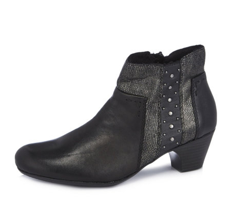 Rieker Mixed Panel Leather Ankle Boot