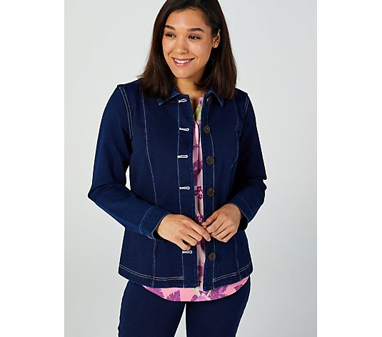 Denim & Co. Comfy Knit Button Front Jacket with Contrast Stitching