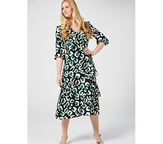 Ronni Nicole Faux Wrap Printed Dress