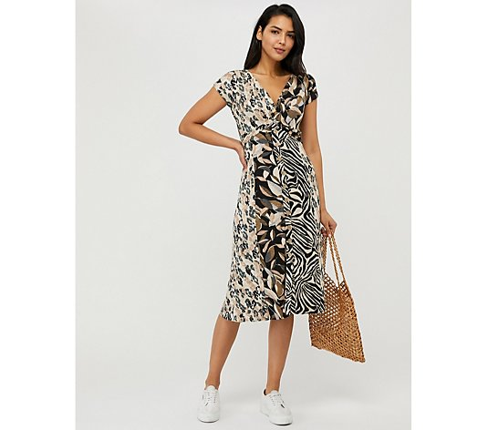 Monsoon Lennie Animal Patch Print Jersey Midi Dress