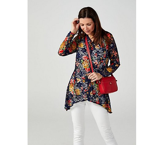 Floral Bouquet Print Shark Bite Hem Shirt by Michelle Hope