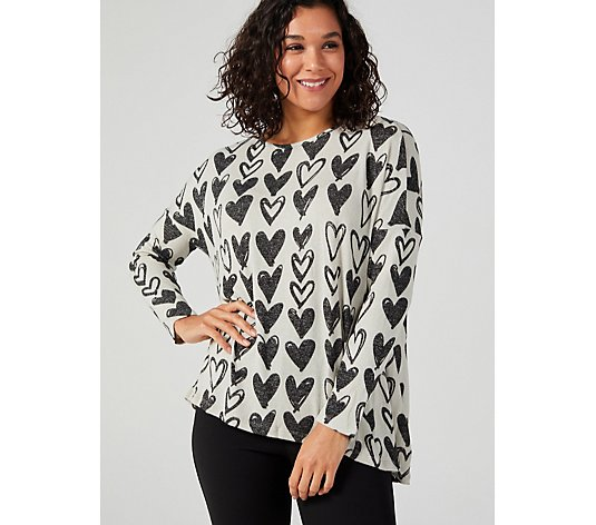 Kim & Co Printed Lux Sweater Knit Long Sleeve Hi-Low Tunic