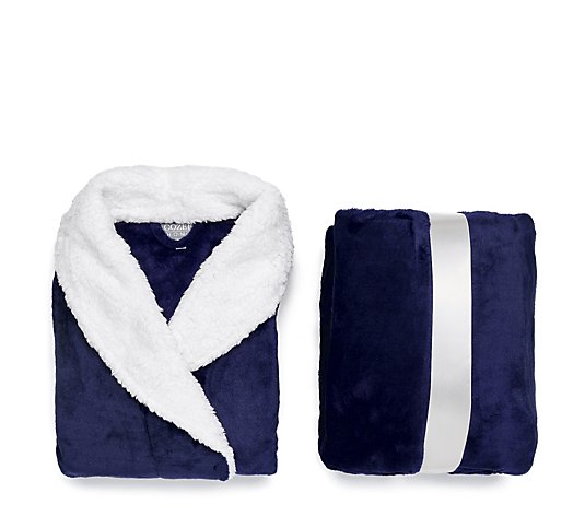 Cozee Home Giftable Velvetsoft Dressing Gown & Throw Set