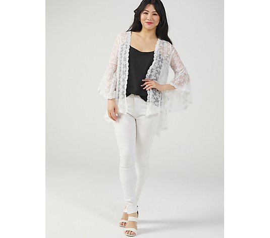 Bell Sleeve Open Front High Low Hem Lace Bolero by Nina Leonard