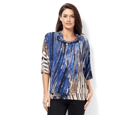 Mr Max Printed Cowl Neck Top