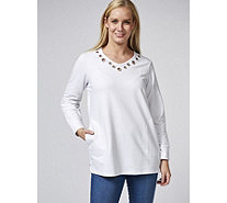 Quacker Factory Grommet Detail Long Sleeve Tunic - 168132