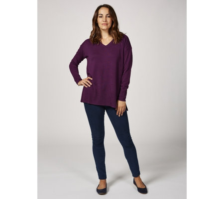 H by Halston Relaxed Fit V Neck Boyfriend Jumper