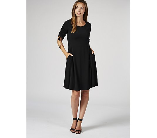 3/4 Shirred Sleeve Dress with Side Pockets by Nina Leonard