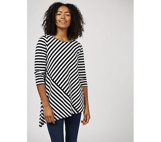 Antthony Designs Striped Top with Asymmetric Hem