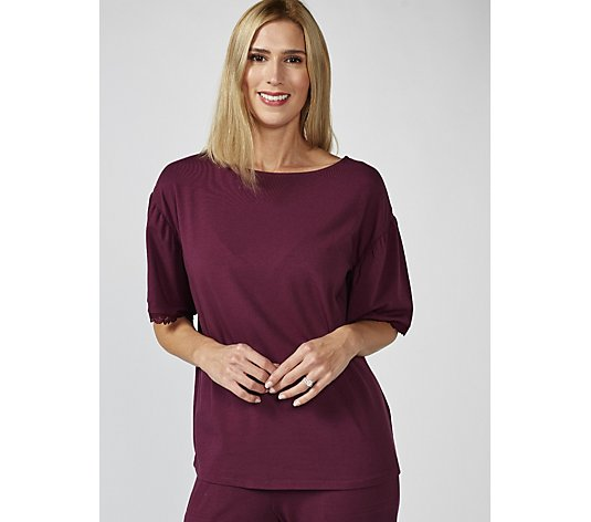 ModernSoul Cozy Knit Lounge Top with Lace Trim