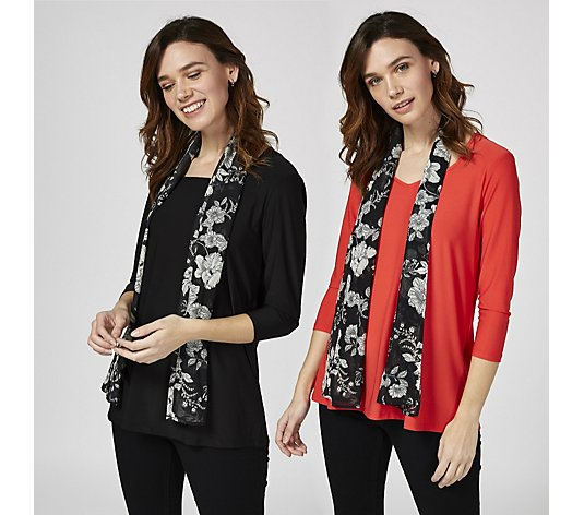 Antthony Designs Pack of 2 Tops with Printed Scarf