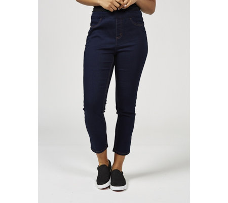 Denim & Co. Soft Stretch Pull On Crop Petite Jeans