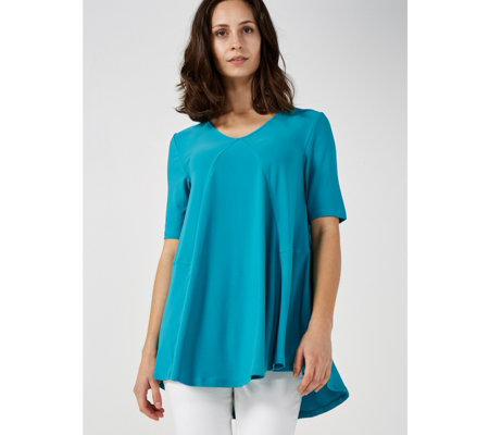 Elbow Sleeve V Neck Tunic with Front Godet by Nina Leonard
