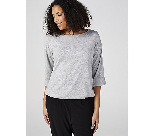 Boat Neck Top with Soft Knit Drawstring Hem by Nina Leonard