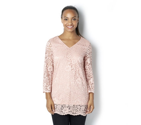 3/4 Sleeve Lace Tunic by Nina Leonard