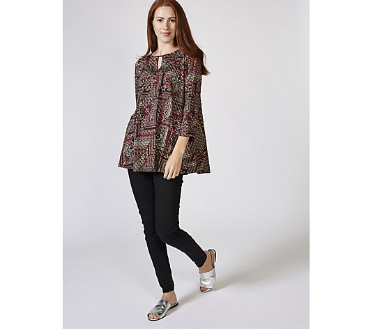 Attitudes by Renee Printed Tunic with Key Hole Detail