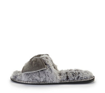 Pretty You London Violet Faux Fur One Band Slippers with Large Bow - 166733