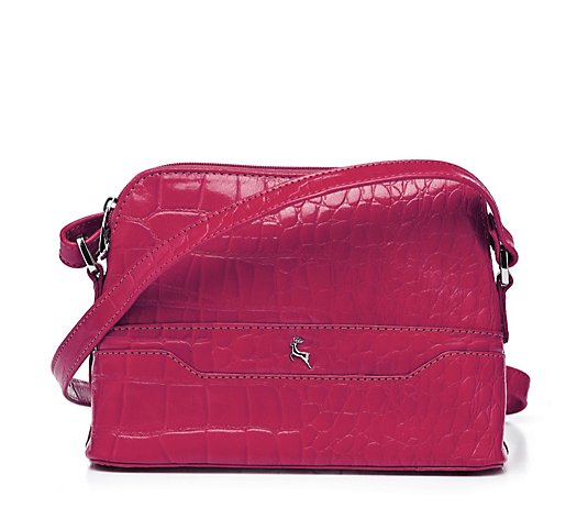 Ashwood Leather Croc Effect Crossbody Bag