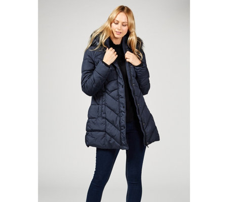 Centigrade Faux Down Padded Chevron Coat with Detachable Faux Fur Hood