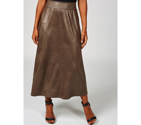 Kim & Co Brazil Jersey Pleather Skirt