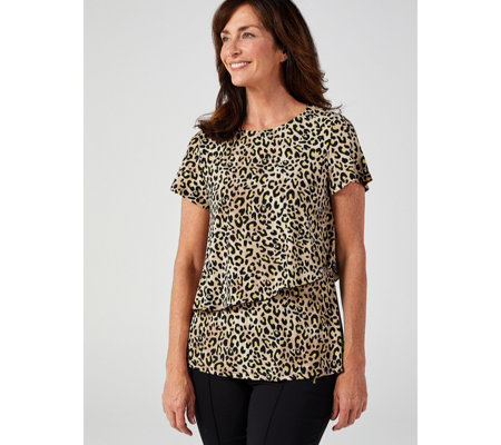 Flutter Sleeve Printed Layered Trapeze Top by Nina Leonard