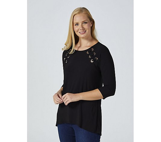 Coco Bianco Grommet Detail Tunic with Hi Lo Hem