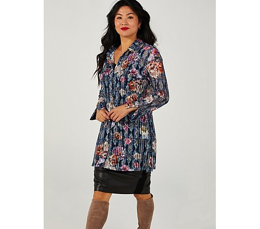 Paisley Bouquet Lace Long Length Shirt by Michele Hope