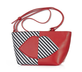 Lulu Guinness Small Pixie Leather 50:50 Stripe Lip Crossbody Bag - 160734