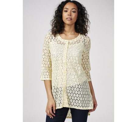 Dip Hem Crochet Sequin Lace Cardigan by Michele Hope