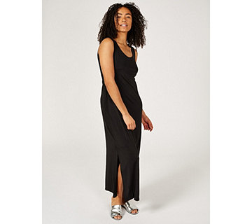 Alton Gray Sleeveless Jersey Maxi Dress with Side Split Detail - 170534
