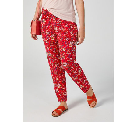 Kim & Co Sweet Petunias Brazil Jersey Wellness Trousers with Pockets